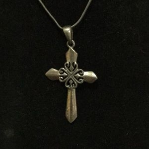 """16"""" 925 Cross Necklace, great patina"""